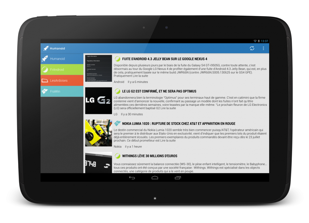 Application Humanoid sur tablette