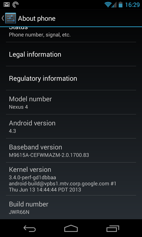 fuite android 4.3 jelly bean google lg nexus 4