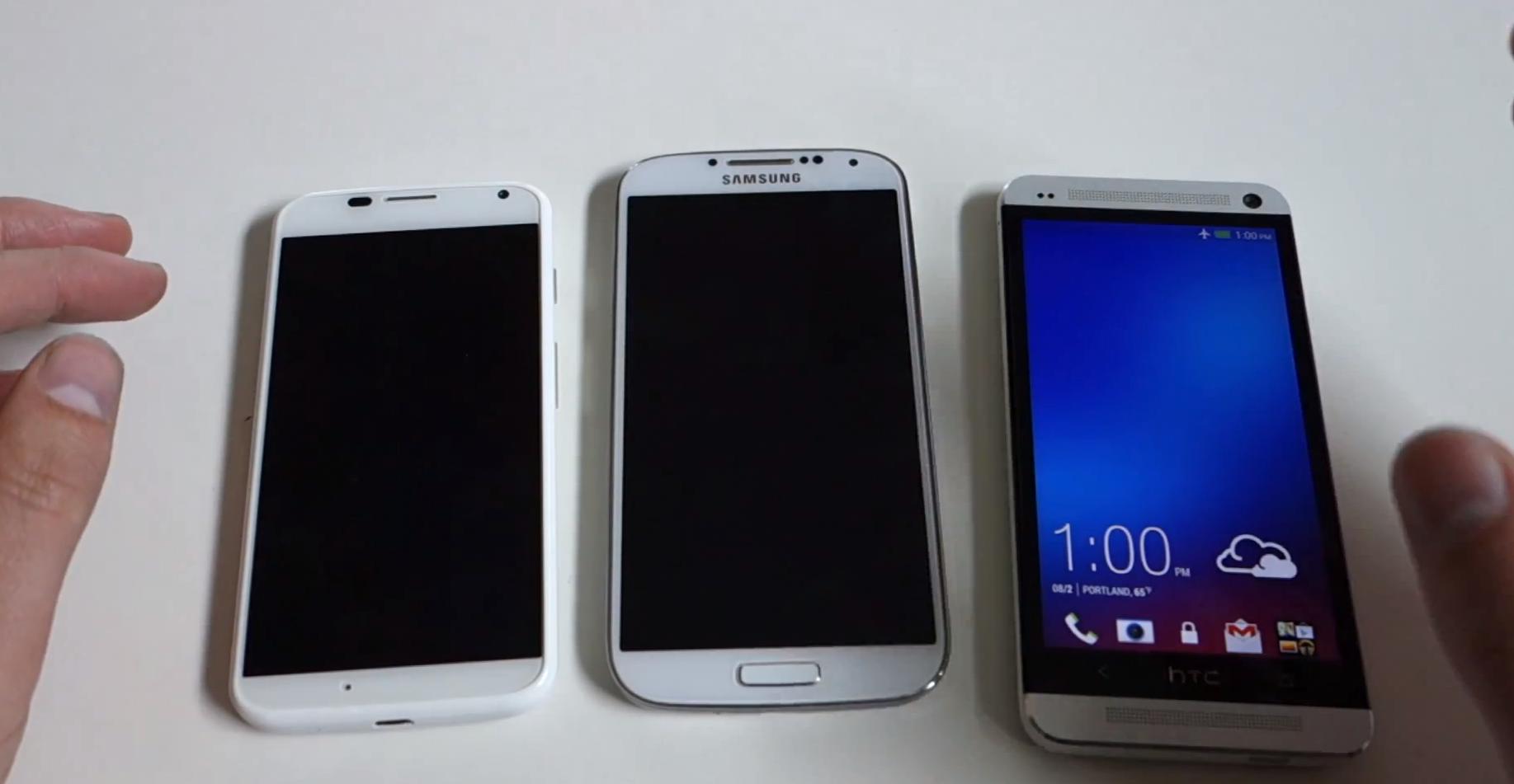 Moto X vs HTC One vs Samsung Galaxy S4 en vidéo