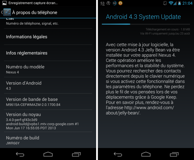 android 4.3 jelly bean google nexus 4 build jwr66y