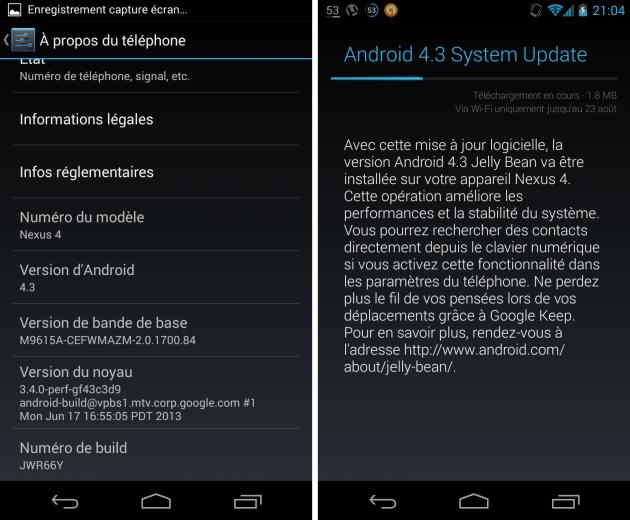 android 4.3 jelly bean google nexus 4 build jwr66y