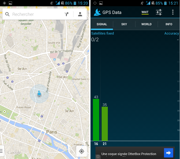 android acer liquid s1 geolocalisation synchronisation gps