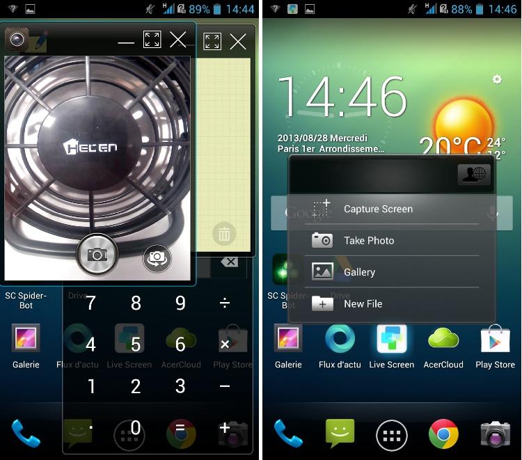 android acer liquid s1 multi-window capture-écran