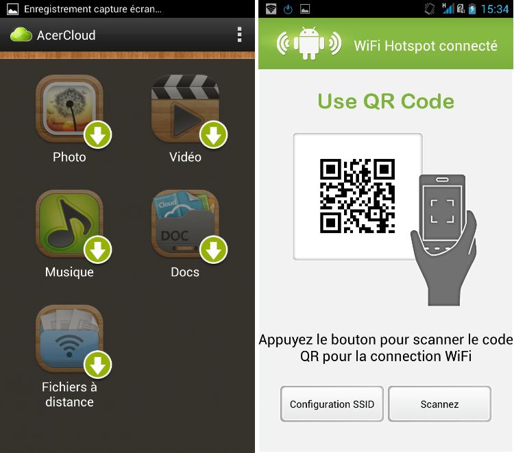 android acer liquid s1 multimédia tether modem wifi qr code