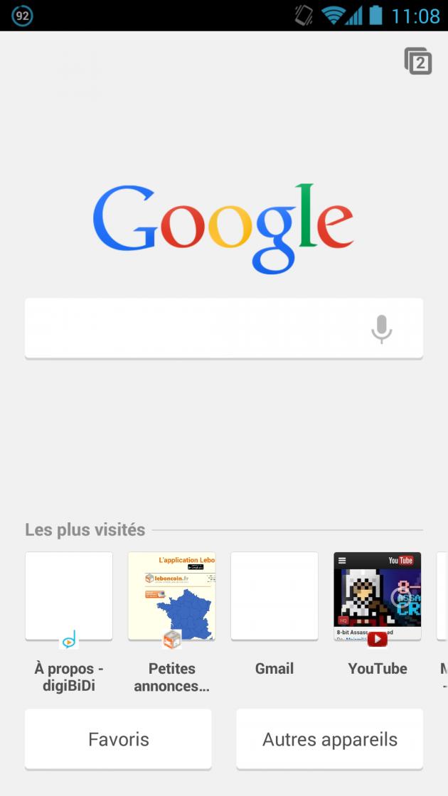android google chrome beta 30.0 NTP New Tabe Page Nouvelle page de recherche Google
