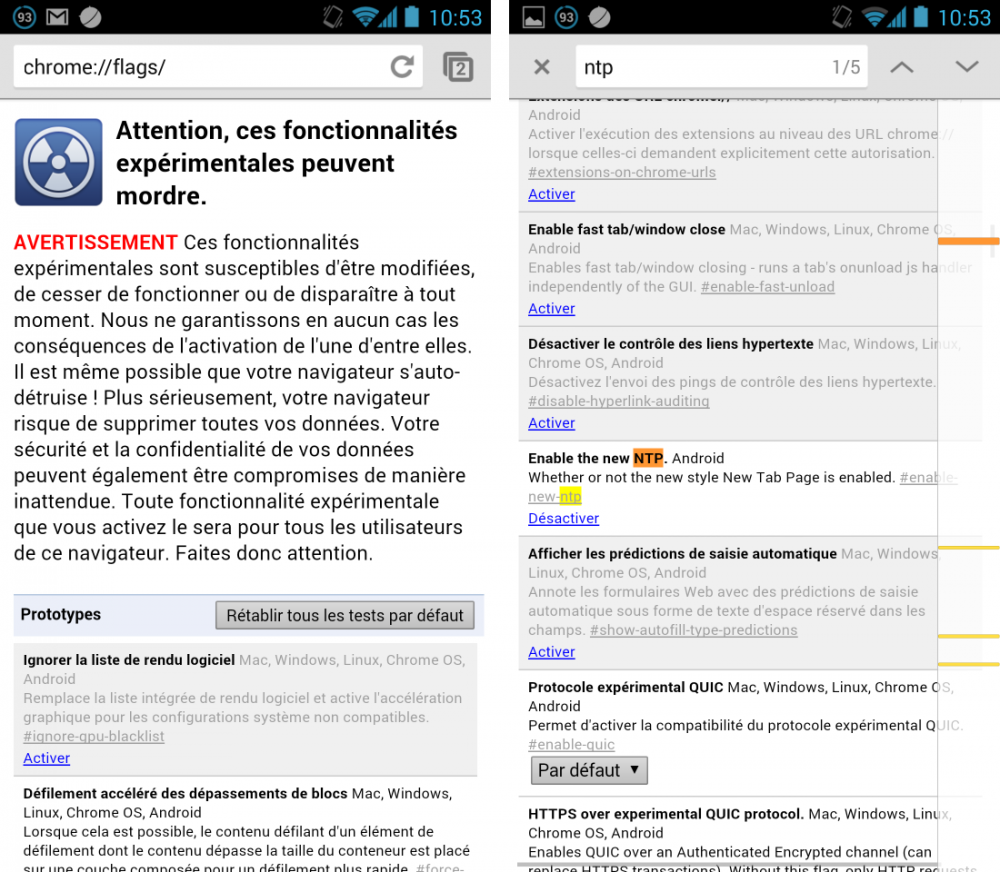 android google chrome beta 30.0 NTP New Tabe Page Nouvelle page de recherche Google settings paramètres