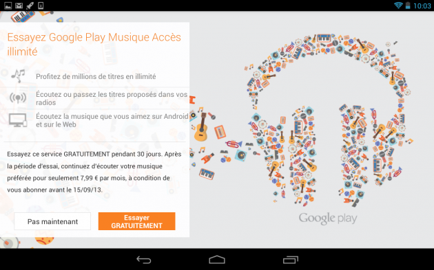 android google play musique play music all acces accès illimité france europe