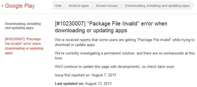 android google problème mise à jour bug play store
