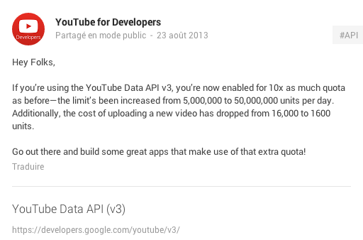 android ios mobile platform plateforme youtube api v3