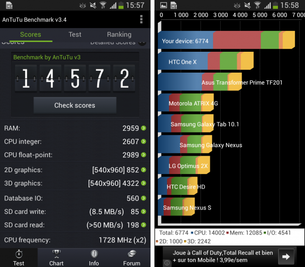 android samsung galaxy s4 gt-i9195 antutu quadrant