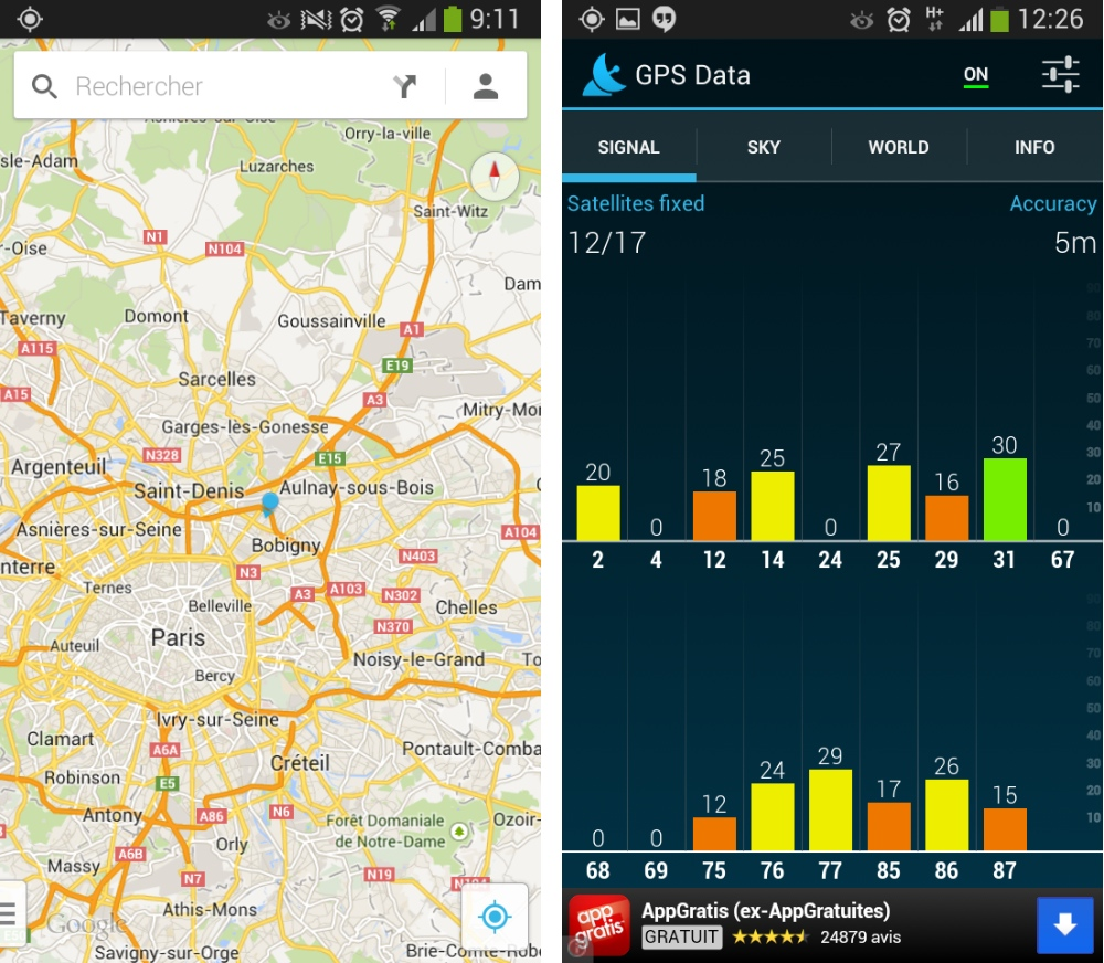 android samsung galaxy s4 mini test gps geolocalisation 1