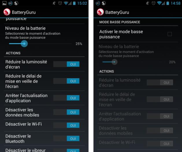 android snapdragon batteryguru mode basse puissance 0