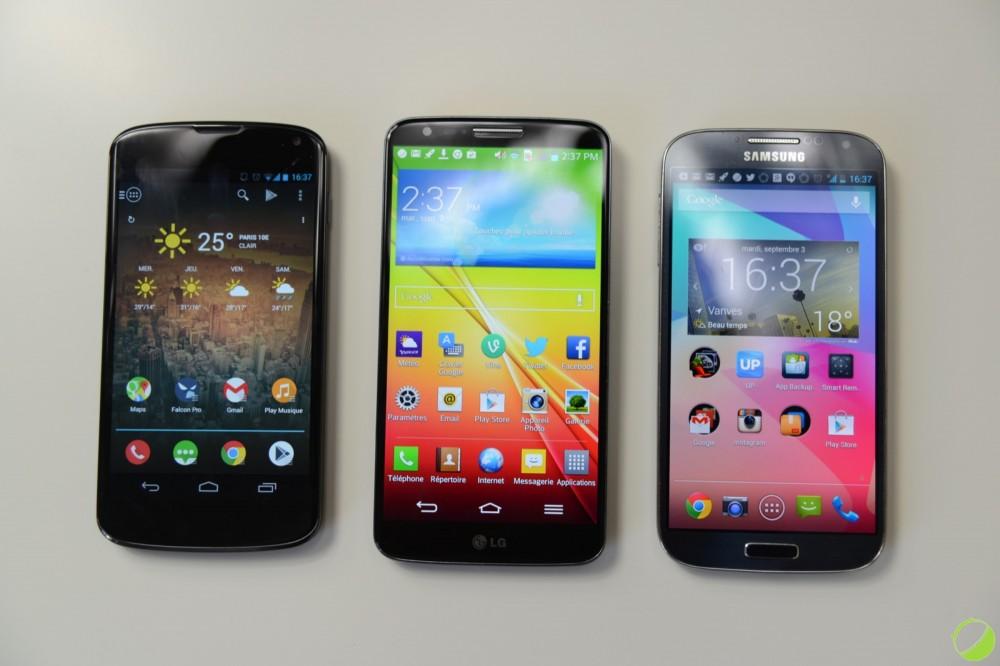 LG Nexus 4 vs LG G2 vs Samsung Galaxy S4