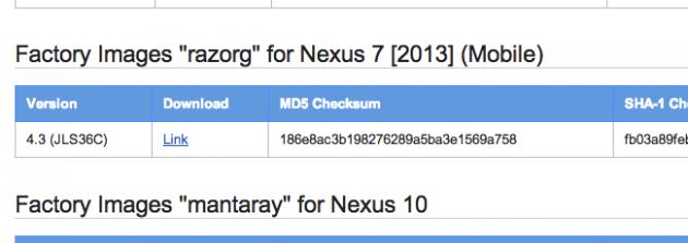 android 4.3 JLS36C google asus nexus 7 lte (2013)