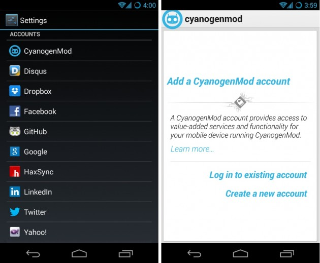 android cyanogenmod account compte sync