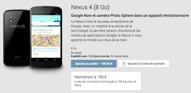 android google lg nexus 4 fin de vente monde entier