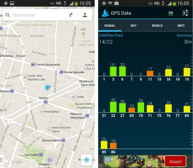 android samsung galaxy s4 active gps data localisation