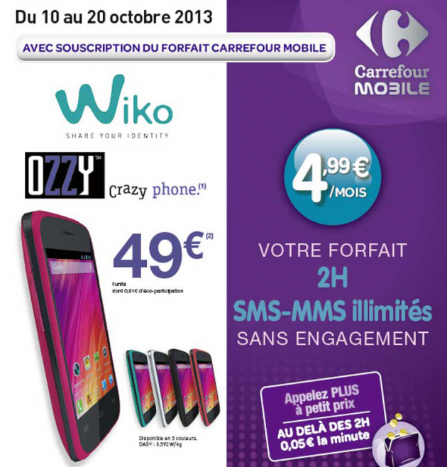 carrefour mobile le wiko ozzy propos pour 49 euros. Black Bedroom Furniture Sets. Home Design Ideas