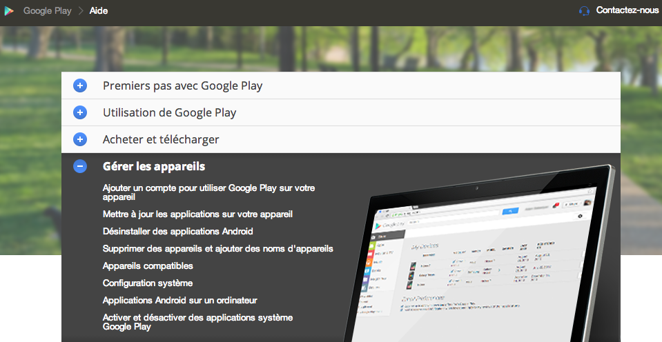 Nouvelle interface Centre d'aide Google Play