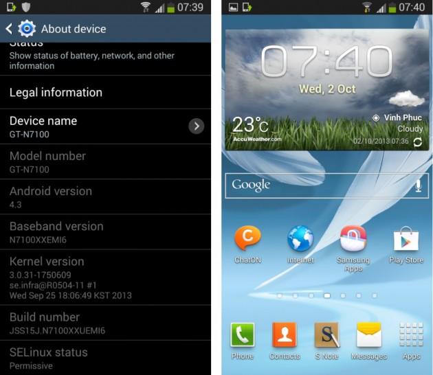android 4.3 jelly bean (N7100XXUEMI6) fuite samsung galaxy note 3