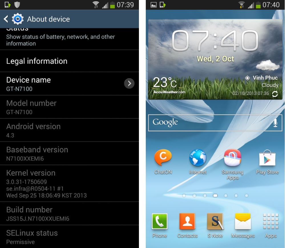 Samsung Galaxy Note 2 : fuite de la mise à jour d'Android 4.3 Jelly Bean