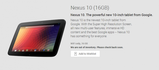 android google nexus 10 2012 out of stock rupture de stock 00