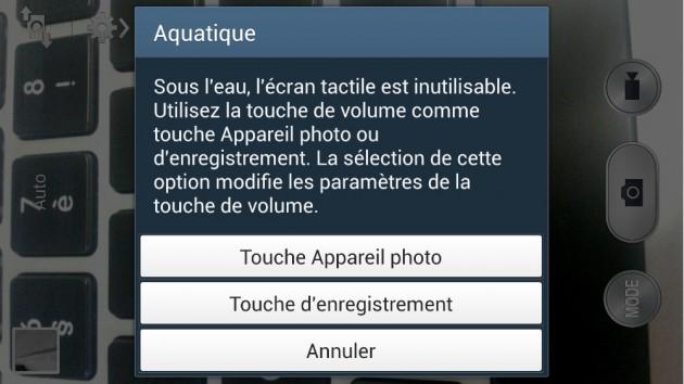 android samsung galaxy s4 active commande appareil photo caméra sous l'eau