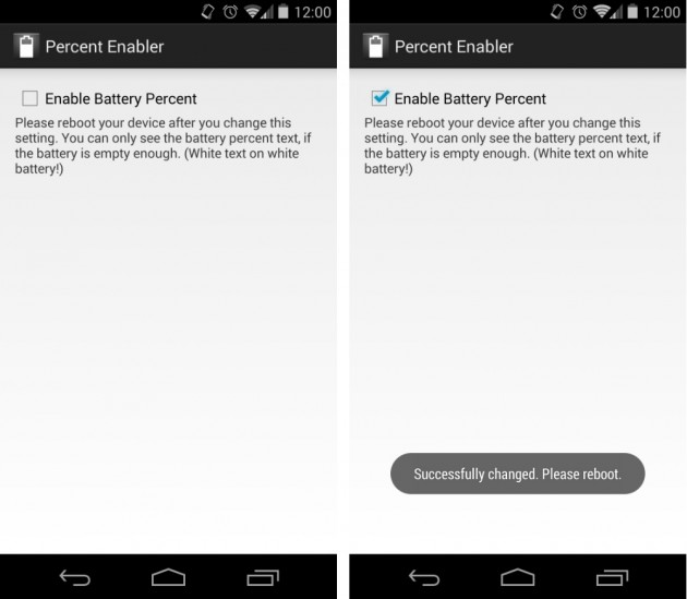 android 4.4 kitkat enable battery percentage google nexus 5