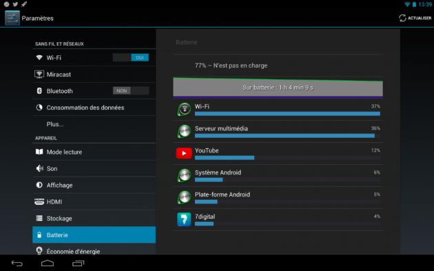 android kobo arc 10 hd batterie autonomie énergie image 0