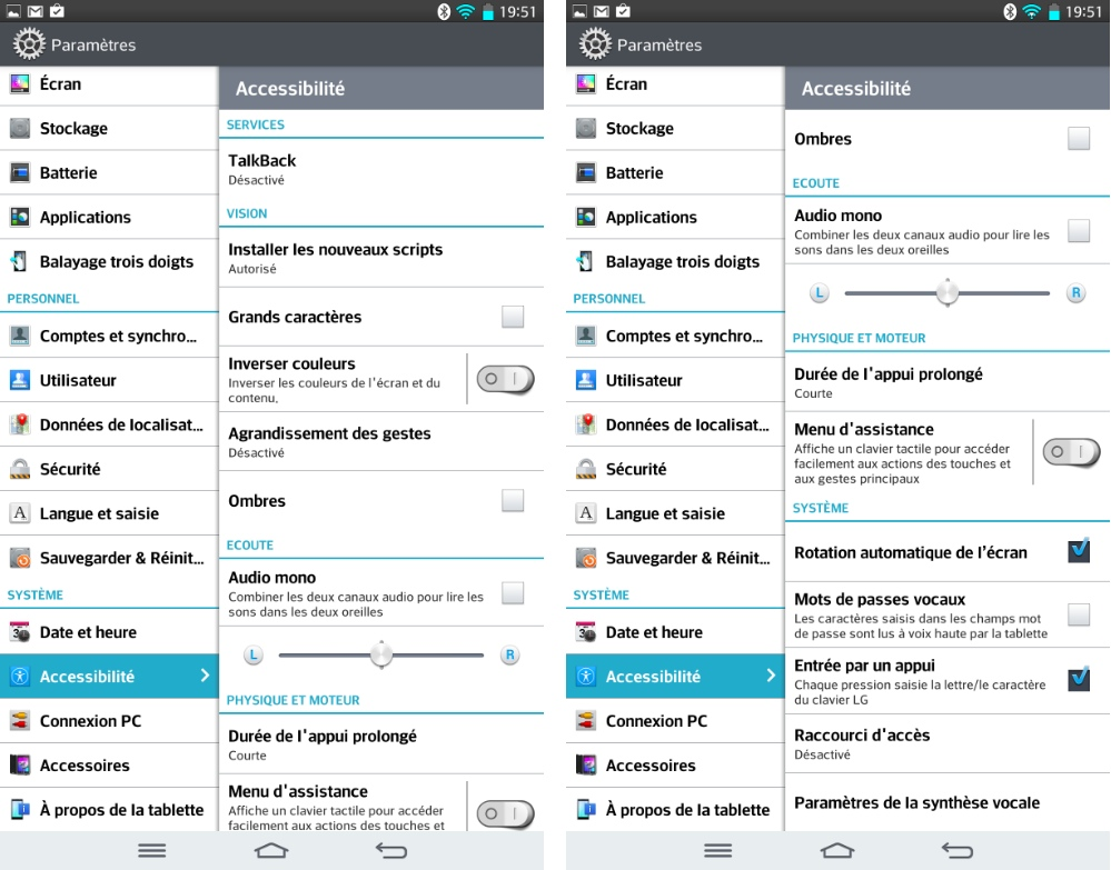android lg g pad 8.3 paramètres accessibilité