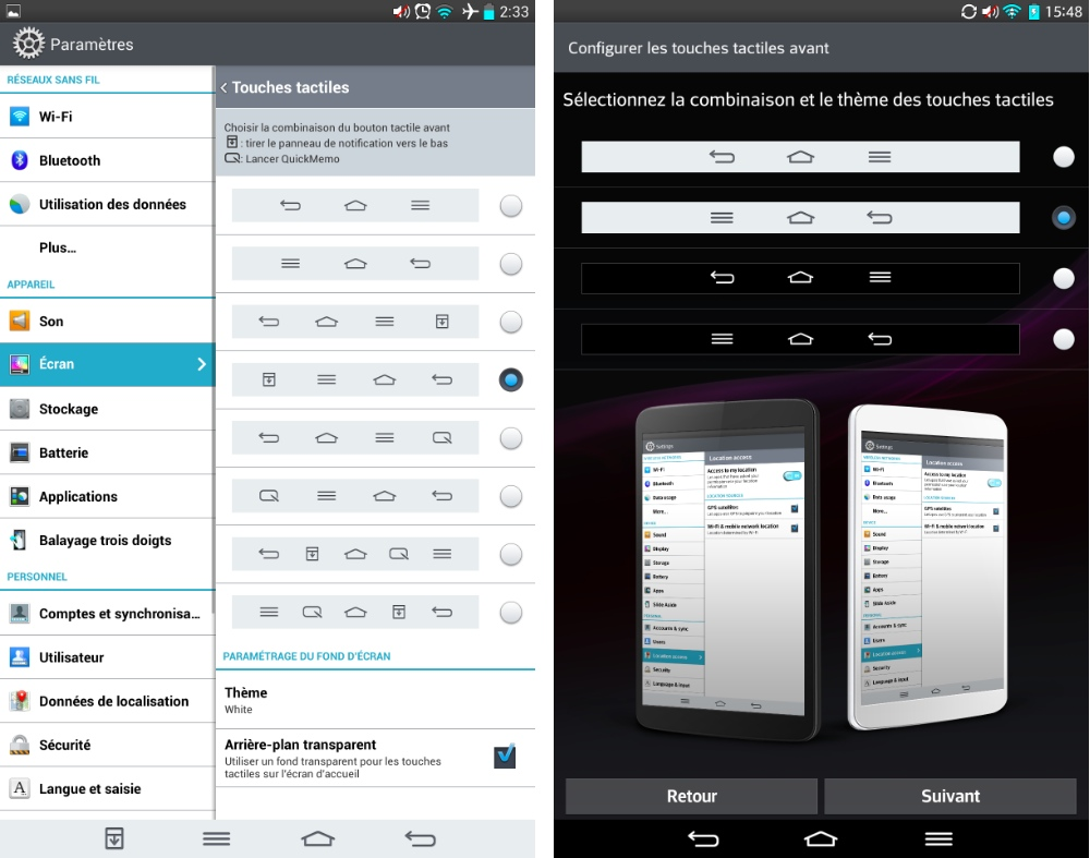 android lg g pad 8.3 touches tactiles actions rapides