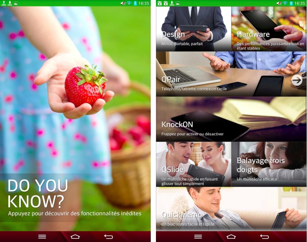 android lg g pad tutoriel utilisation apprentissage rapide