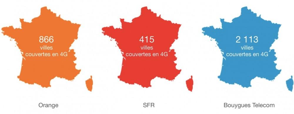 Villes couvertes en 4G - 28 novembre