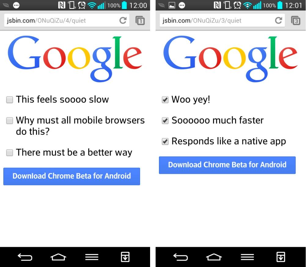Chrome Beta 32 éradique le délai de réponse des 300ms sur Android