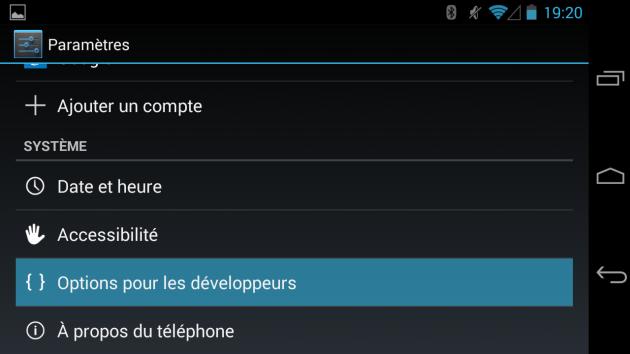 android options pour les développeurs mode bannière