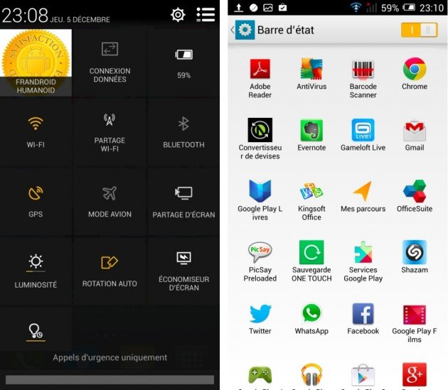 frandroid test alcatel one touch idol x interface logicielle barre de notification alerte images 00
