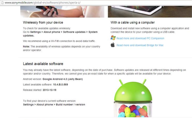 sony xperia z android 4.3 jelly bean image 0