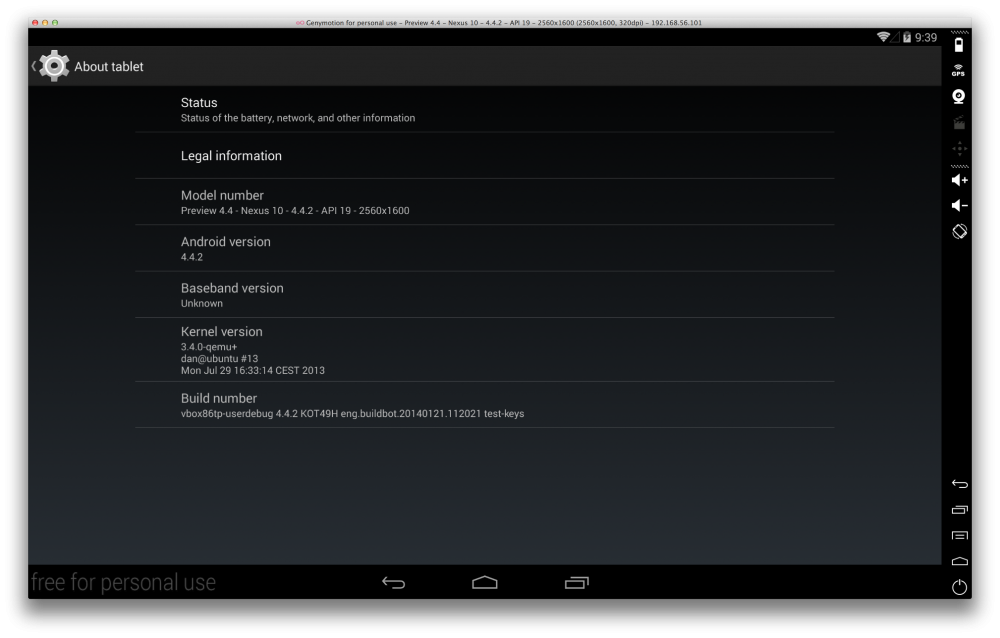 Genymotion - KitKat (Android 4.4.2)