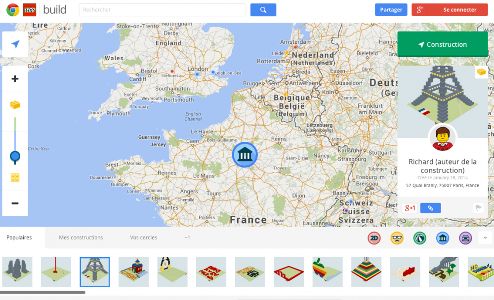 Tour eiffel Lego Google Chrome Google Maps image 0
