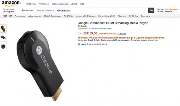 amazon france google chromecast 39 euros