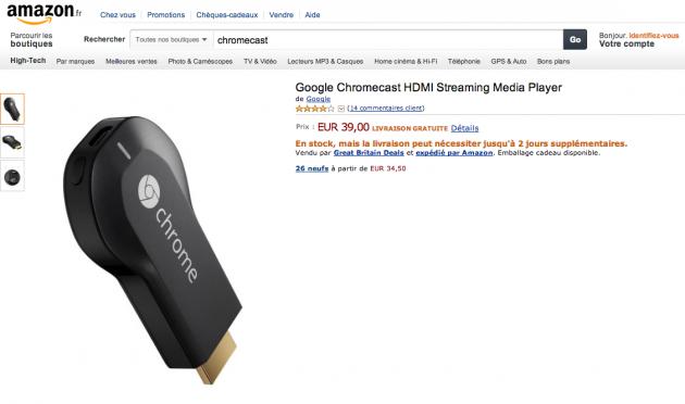 amazon france google chromecast 39 euros