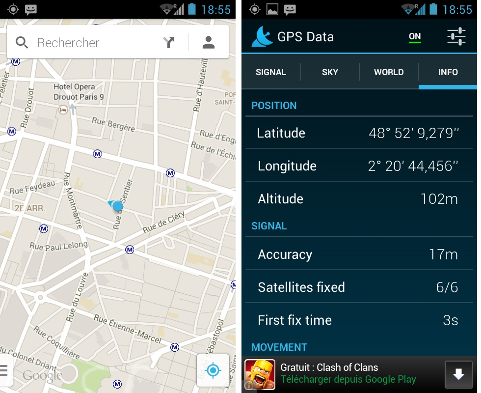 android frandroid quechua phone 5 geolocalisation synchronisation gps data google maps