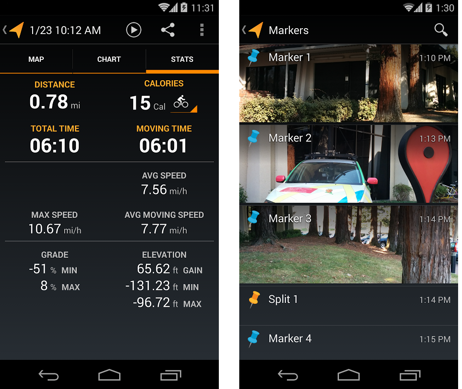 android google mytracks 2.0.5 mes parcours calories perdues images 01