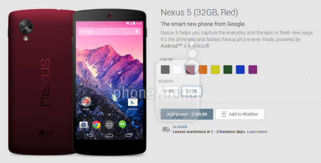 android google nexus 5 red rouge image 0
