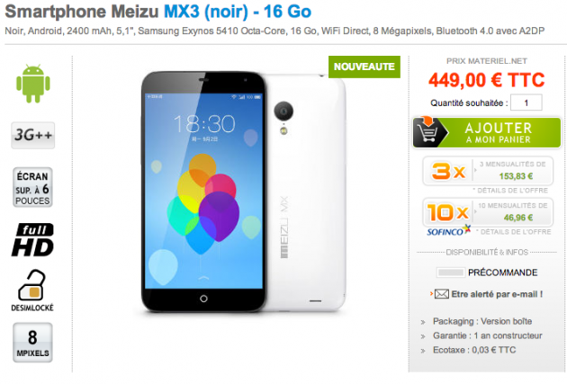 android meizu mx3 france french fr materiel.net precommande