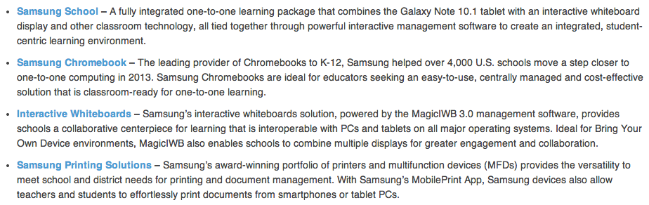 android samsung galaxy tab for education features