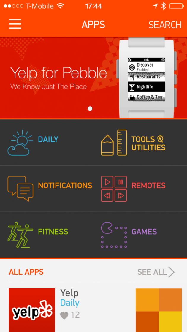 Pebble-app-store-smartwatch-application