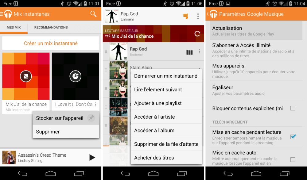 android google play music 3.4 my devices mes appareils tiroir latéral images 02