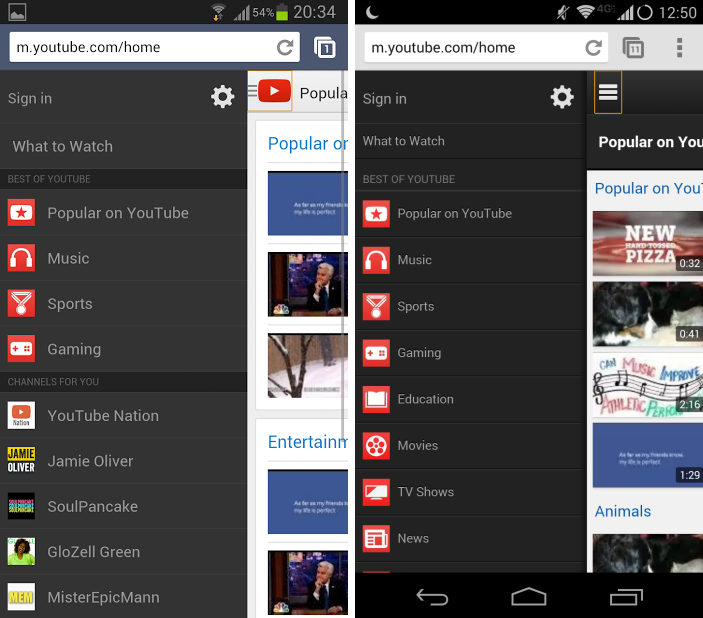 android youtube mobile web ui interface février 2014 redesign images 01