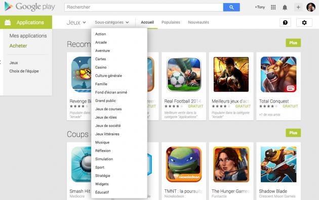 android google play store catégorie jeux section jeux de rôles